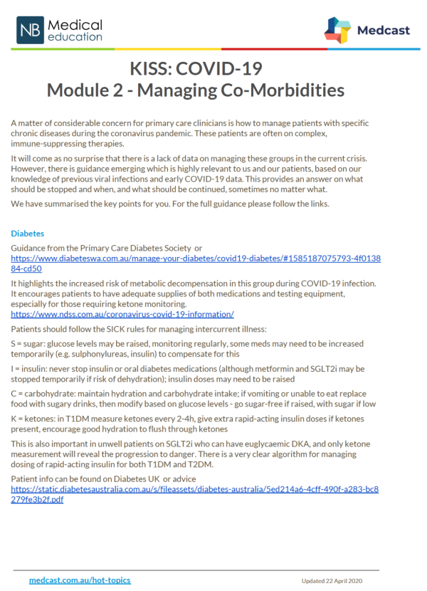KISS: COVID-19 Module 2 - Managing Co-Morbidities