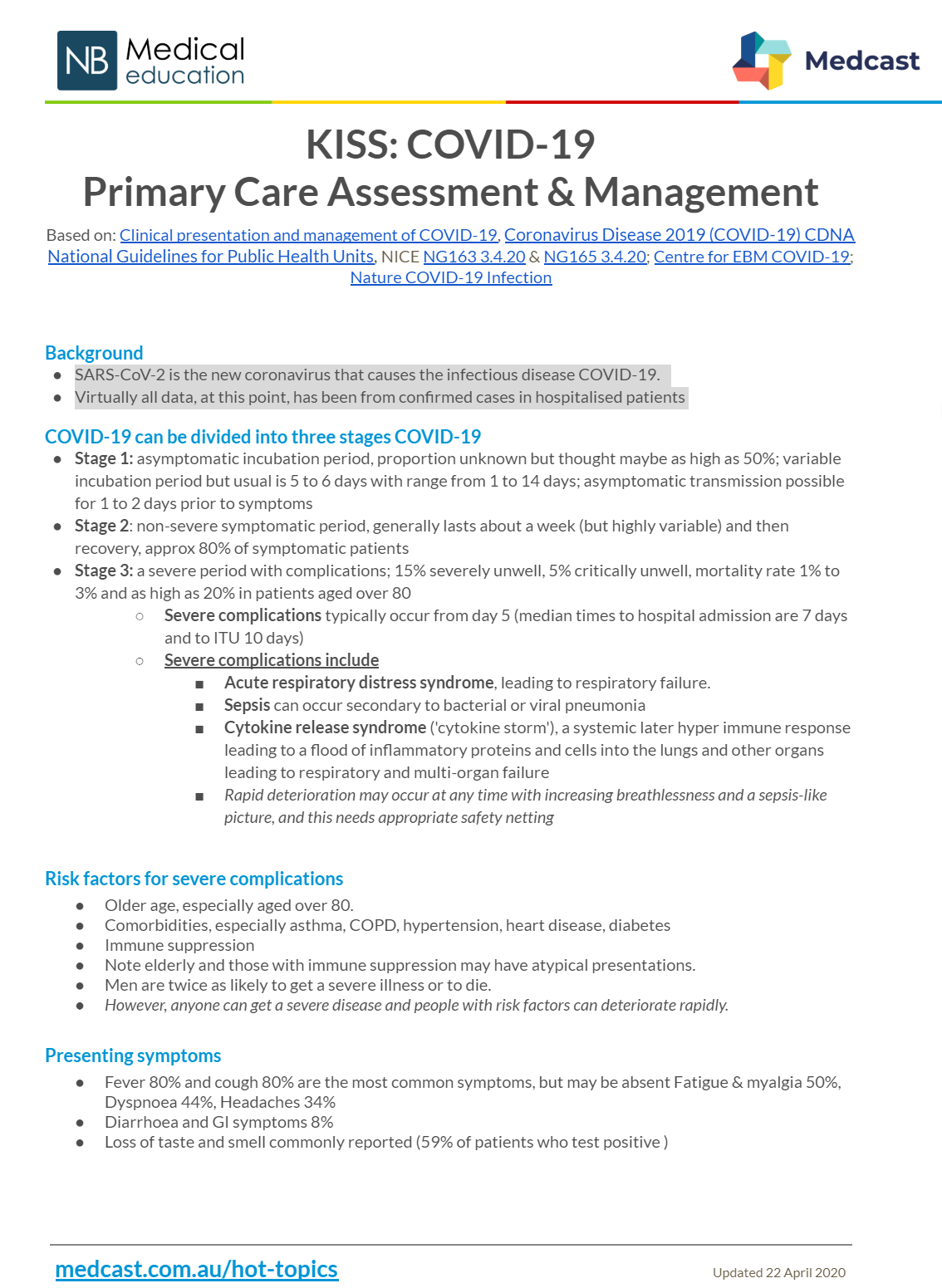 KISS: COVID-19 Primary Care Assessment & Management